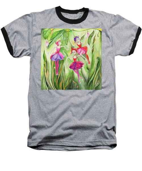 Baseball T-Shirt featuring the painting Fuschia On Discovering The Truth by Nadine Dennis