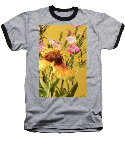 Gaillardia And Dianthus Baseball T-Shirt by Richard Rizzo