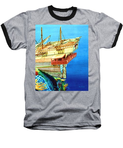 Galleon On The Reef 2 Filtered Baseball T-Shirt