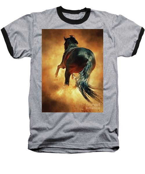 Galloping Horse In Fire Dust Baseball T-Shirt