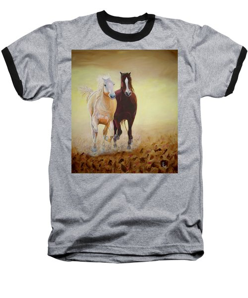 Galloping Horses Baseball T-Shirt