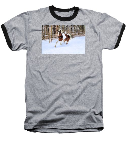 Galloping In The Snow Baseball T-Shirt by Elizabeth Dow