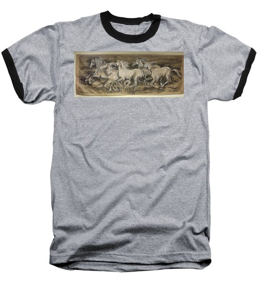 Galloping Stallions Baseball T-Shirt by Debora Cardaci