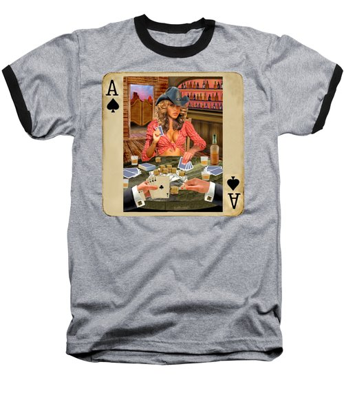 Gamblin' Cowgirl Baseball T-Shirt by Glenn Holbrook