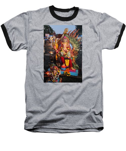 Ganesha Arati On Ganesh Chaturthi, Ganeshpuri Baseball T-Shirt by Jennifer Mazzucco