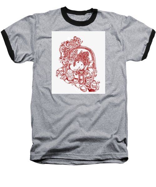 Ganesha Line Drawing Baseball T-Shirt by Suhas Tavkar