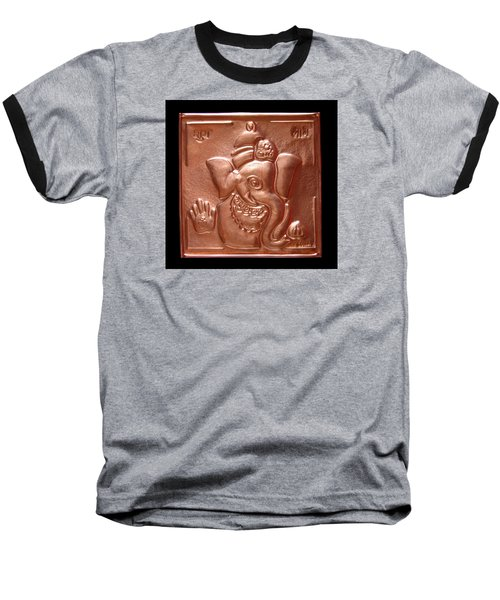 Baseball T-Shirt featuring the relief Ganesha by Suhas Tavkar