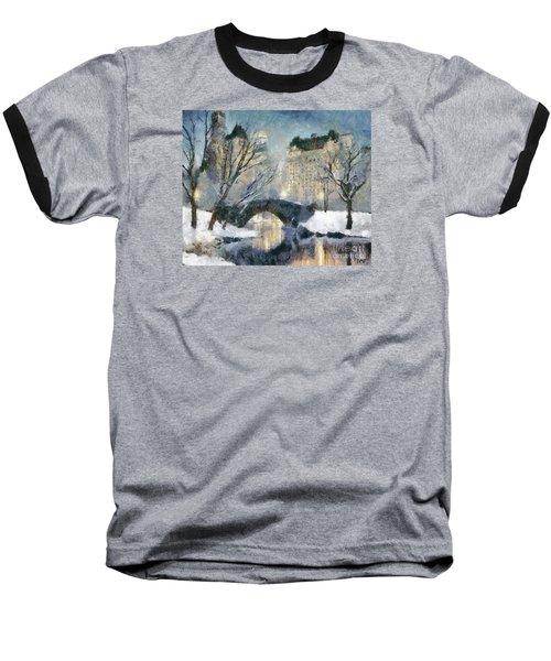 Gapstow Bridge In Snow Baseball T-Shirt by Dragica  Micki Fortuna