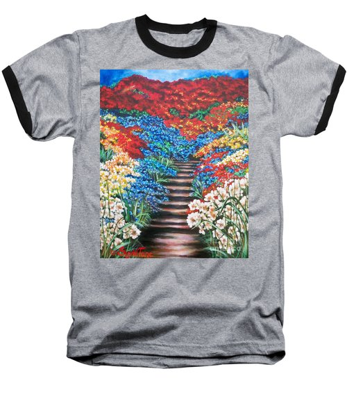 Baseball T-Shirt featuring the painting Garden Cascade by Sigrid Tune