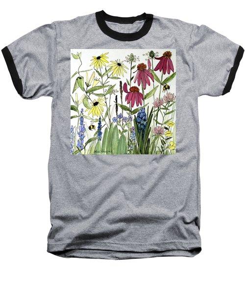 Garden Flowers With Bees Baseball T-Shirt