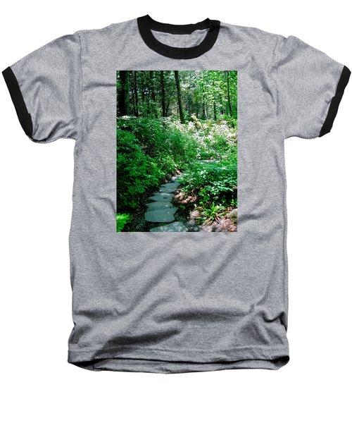 Garden In The Woods Baseball T-Shirt by Deborah Dendler