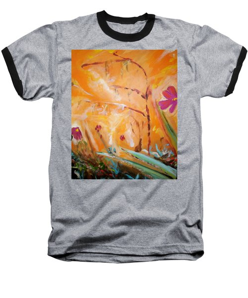 Baseball T-Shirt featuring the painting Garden Moment by Winsome Gunning