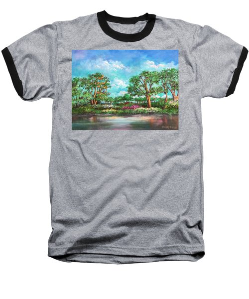 Baseball T-Shirt featuring the painting  Summer In The Garden Of Eden by Randol Burns
