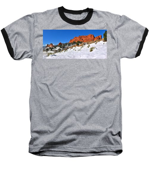 Baseball T-Shirt featuring the photograph Garden Of The Gods Red And White by Adam Jewell