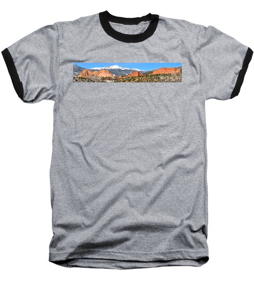 Baseball T-Shirt featuring the photograph Garden Of The Gods Red Rock Panorama by Adam Jewell