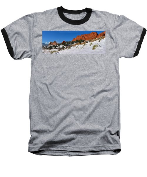 Baseball T-Shirt featuring the photograph Garden Of The Gods Snowy Blue Sky Panorama by Adam Jewell