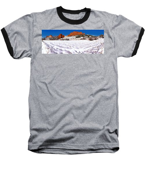 Baseball T-Shirt featuring the photograph Garden Of The Gods Snowy Morning Panorama Crop by Adam Jewell