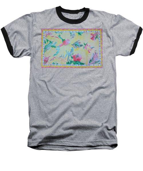 Garden Party Floorcloth Baseball T-Shirt by Judith Espinoza