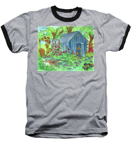 Baseball T-Shirt featuring the painting Garden Potting Shed by Cathie Richardson