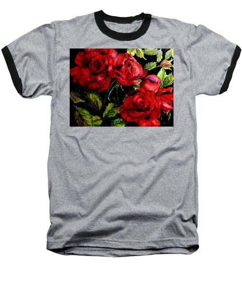 Baseball T-Shirt featuring the painting Garden Roses by Carol Grimes