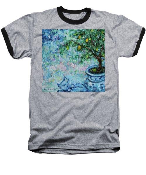 Baseball T-Shirt featuring the painting Garden Sleeping Cat by Xueling Zou