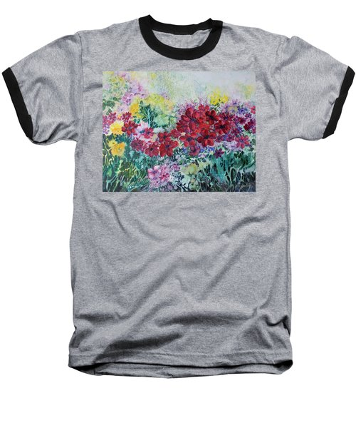Garden With Reds Baseball T-Shirt by Joanne Smoley