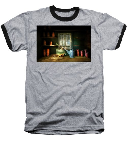 Baseball T-Shirt featuring the photograph Gardener - The Potters Shed by Mike Savad