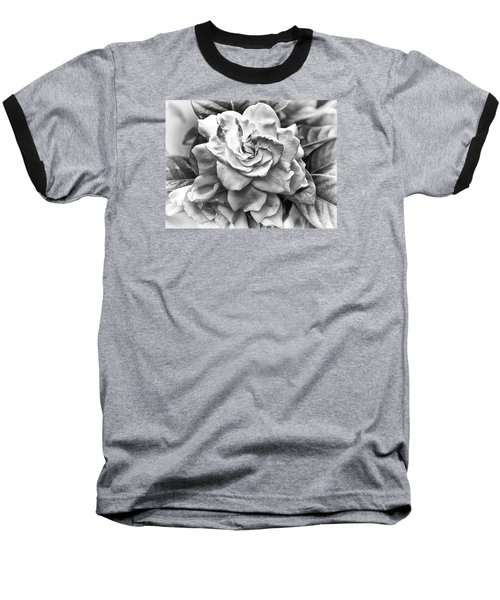 Baseball T-Shirt featuring the photograph Gardenia Black And White by Barbara Middleton