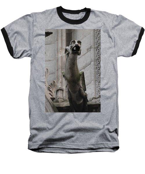 Gargoyle Notre Dame Baseball T-Shirt by Christopher Kirby