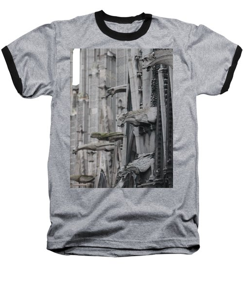 Baseball T-Shirt featuring the photograph Gargoyles North Notre Dame by Christopher Kirby