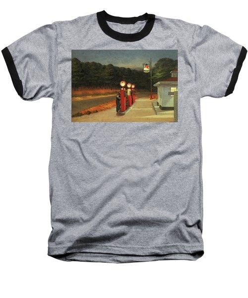 Gas  Baseball T-Shirt by Edward Hopper