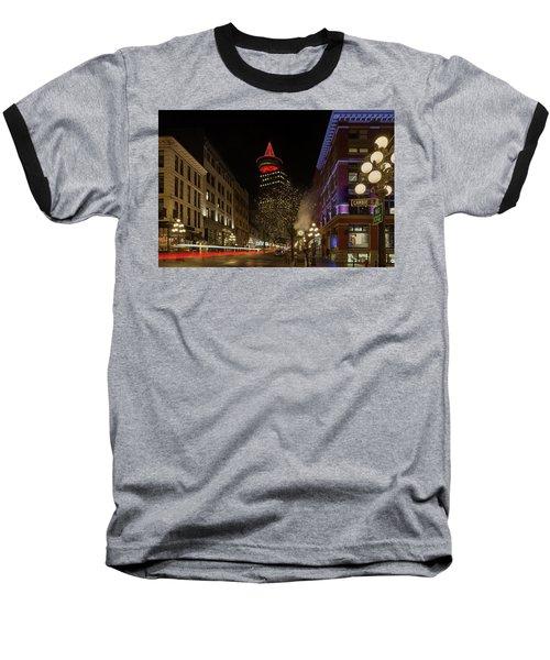 Gastown In Vancouver Bc At Night Baseball T-Shirt