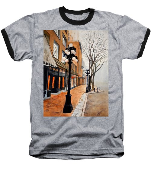 Baseball T-Shirt featuring the painting Gastown, Vancouver by Sher Nasser