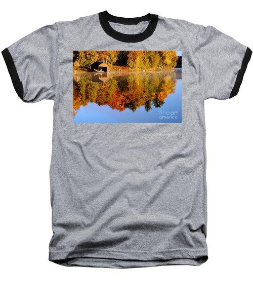 Gatineau Park Taylor Lake Baseball T-Shirt by Rod Jellison