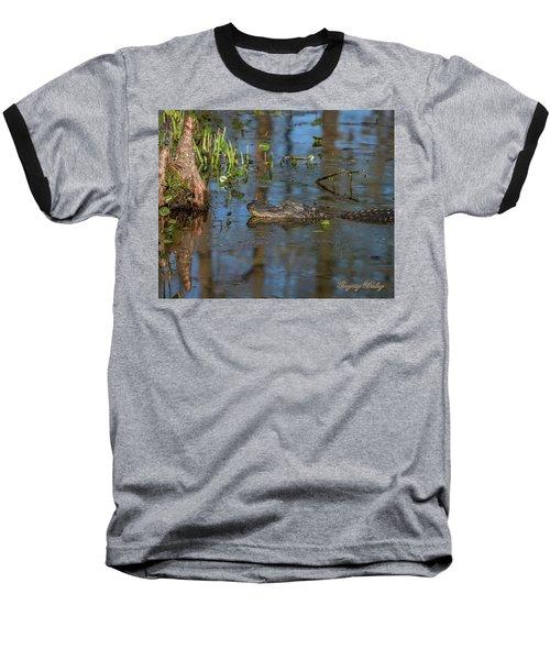 Gator In Cypress Lake 3 Baseball T-Shirt by Gregory Daley  PPSA