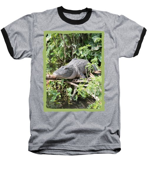 Gator In Green Baseball T-Shirt by Carol Groenen