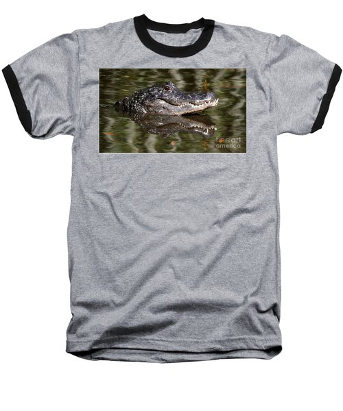 Baseball T-Shirt featuring the photograph Gator With Dragonfly by Myrna Bradshaw