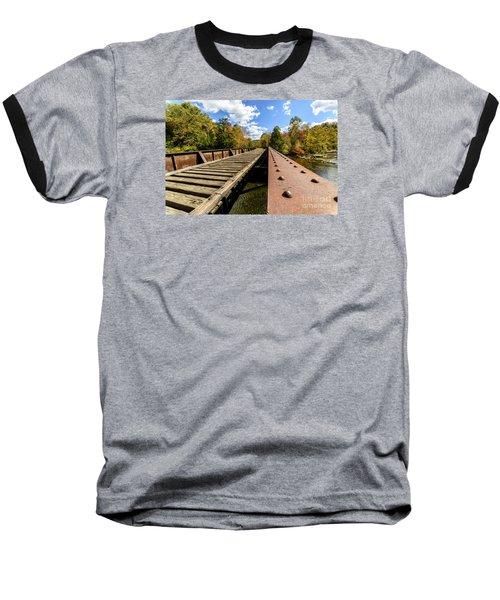 Gauley River Railroad Trestle Baseball T-Shirt by Thomas R Fletcher