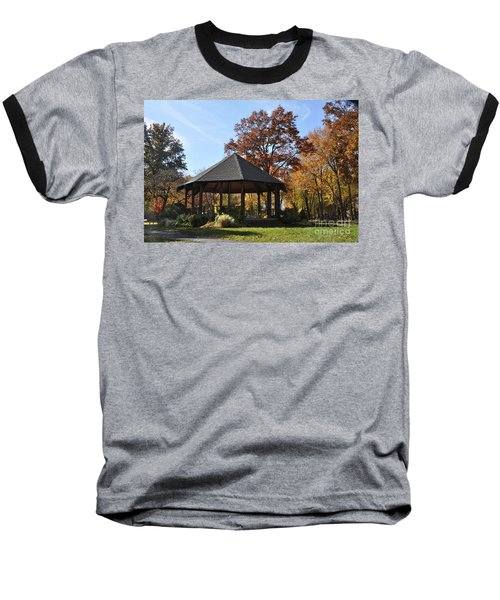 Gazebo At North Ridgeville - Autumn Baseball T-Shirt