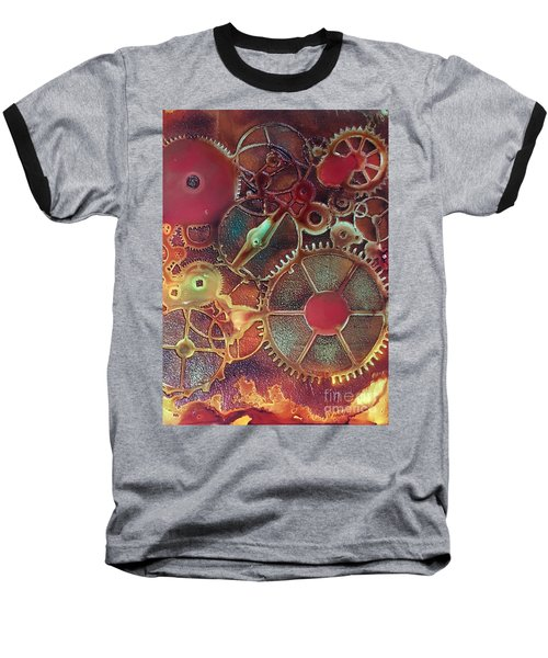 Baseball T-Shirt featuring the painting Gear Works by Suzanne Canner