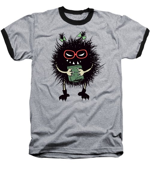 Geek Evil Bug Character Loves Reading Baseball T-Shirt