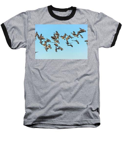 Geese In Flight Baseball T-Shirt