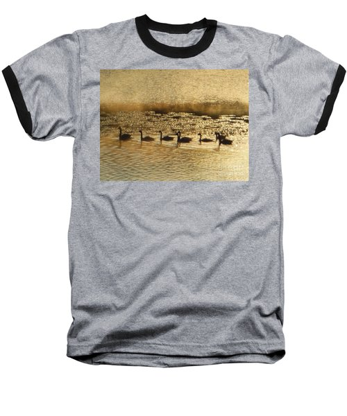 Geese On Golden Pond Baseball T-Shirt