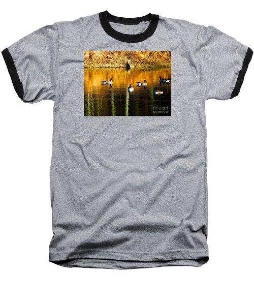 Geese On Lake Baseball T-Shirt by Craig Walters