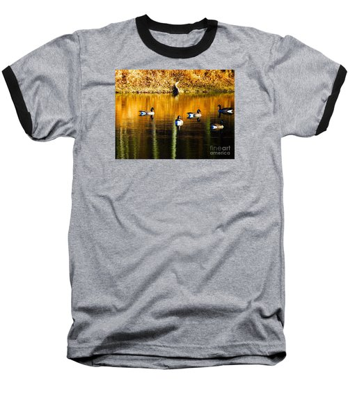 Geese On Lake Baseball T-Shirt