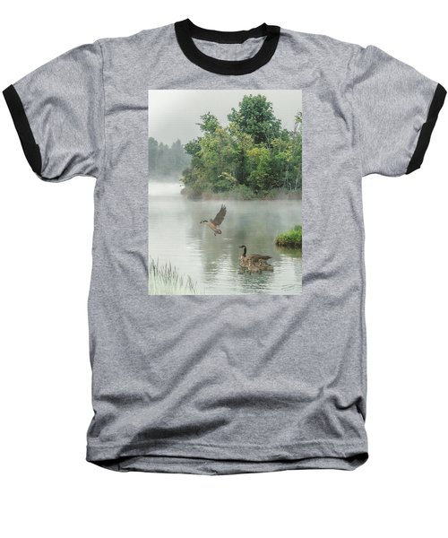 Geese On Misty Lake Baseball T-Shirt