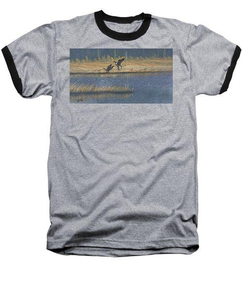 Geese Baseball T-Shirt by Richard Faulkner
