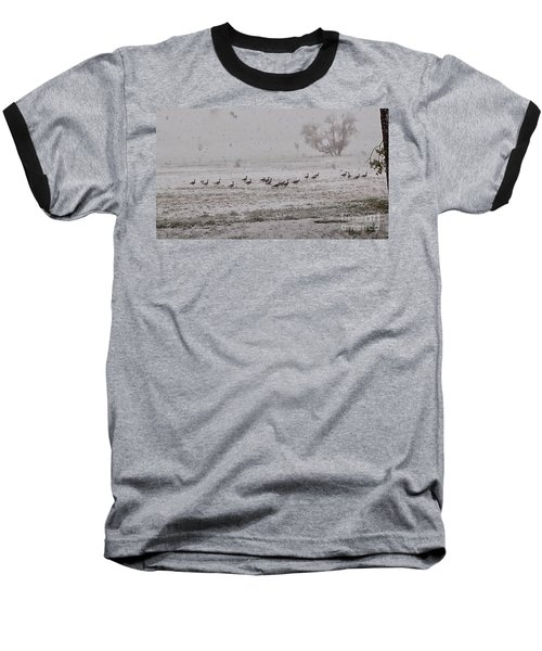 Geese Walking In The Snow Baseball T-Shirt