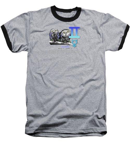 Gemini Sun Sign Baseball T-Shirt by Shelley Overton