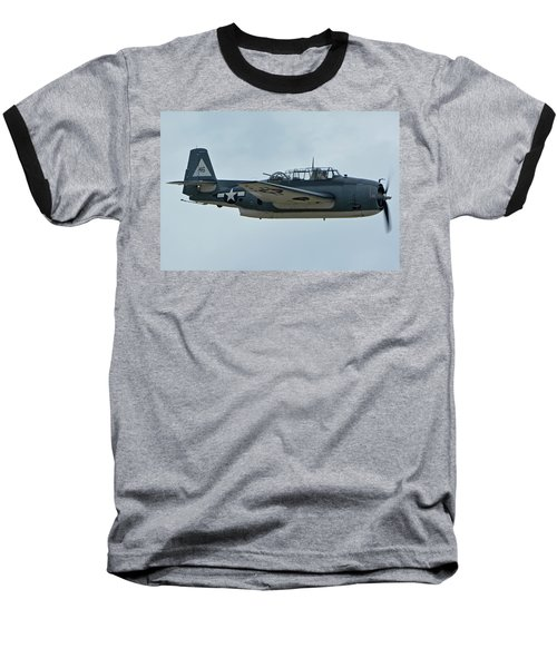 Baseball T-Shirt featuring the photograph General Motors Tbm-3e Avenger Nx7835c Chino California April 30 2016 by Brian Lockett